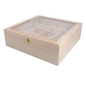 Caja de madera con tapa de cristal