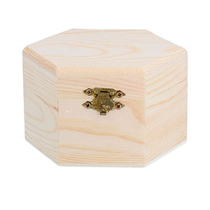 caja hexagonal con bisagras
