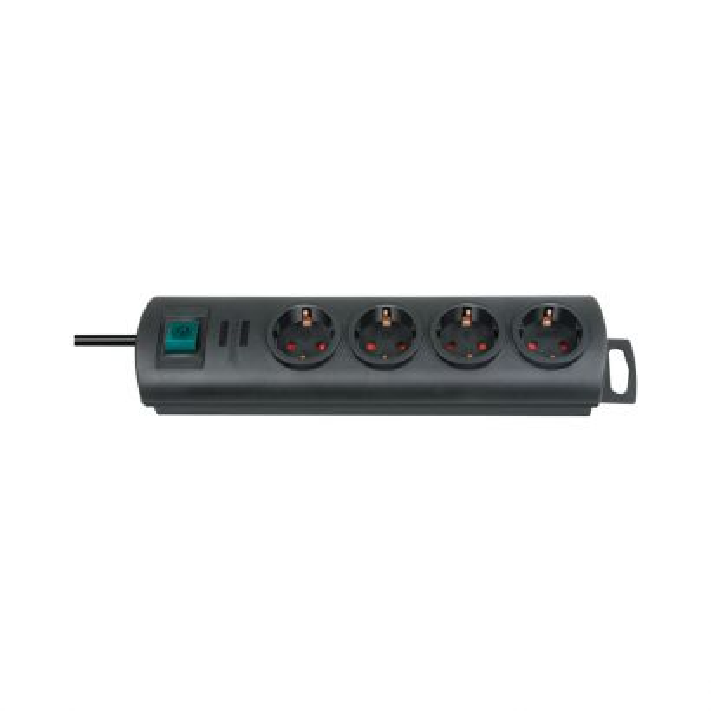 Regleta Primera-Line 4 tomas negro 1,5m H05VV-F 3G1,5