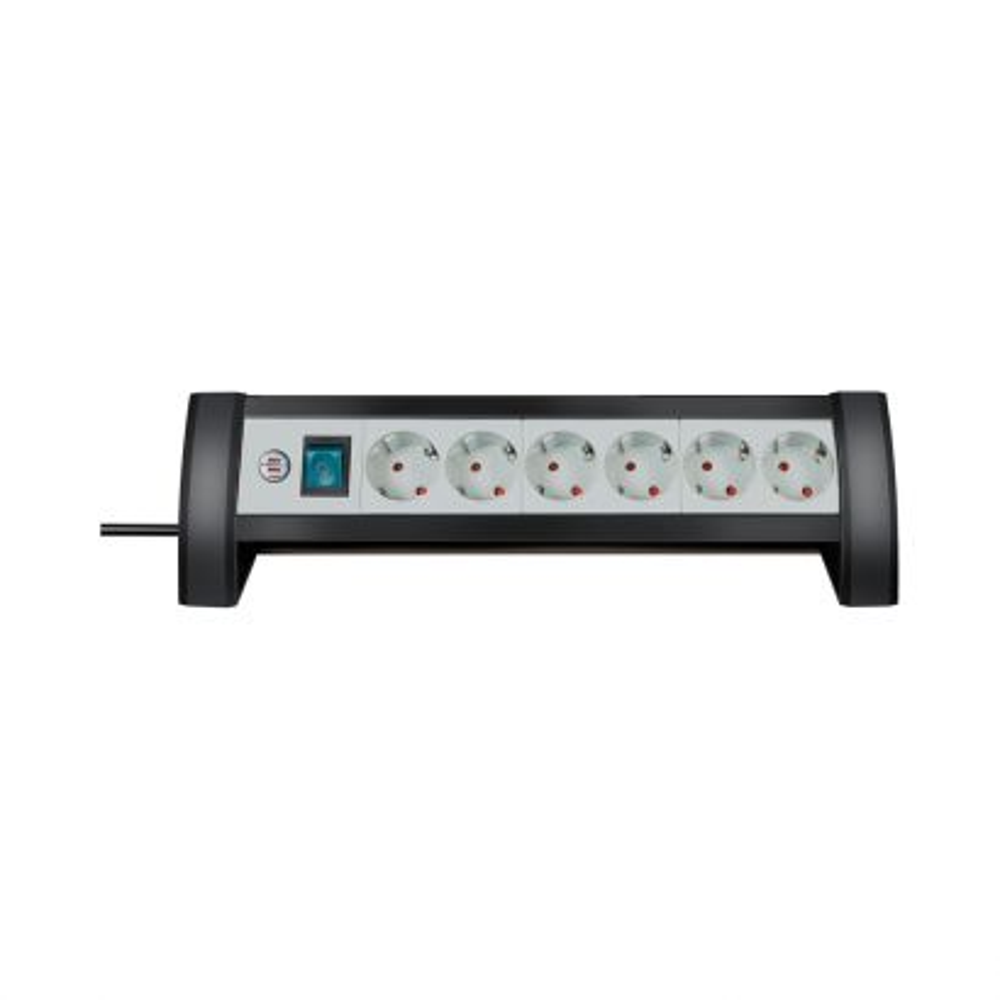 Regleta Premium-Office-Line 6-tomas negro/gris claro 3m H05VV-F 3G1,5