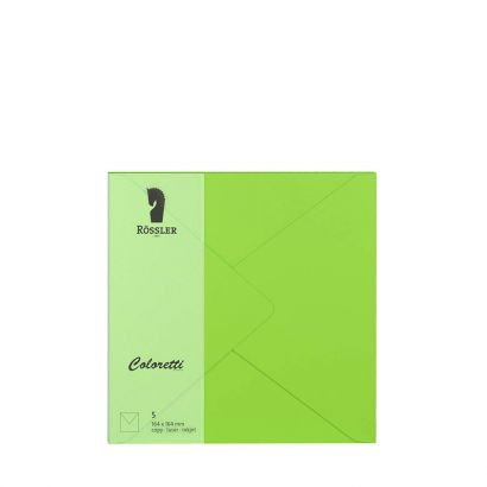 Sobre Cuadrado Papel 100gr Verde Lima 164x164mm (5u.)