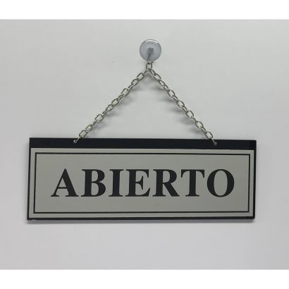 Placa Horario Abierto/Cerrado Plata con Cadena ref. 110
