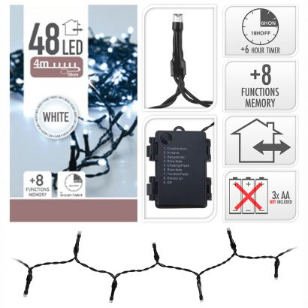 Guirnalda micro leds 48led 3,50cm luz blanca 8 funciones