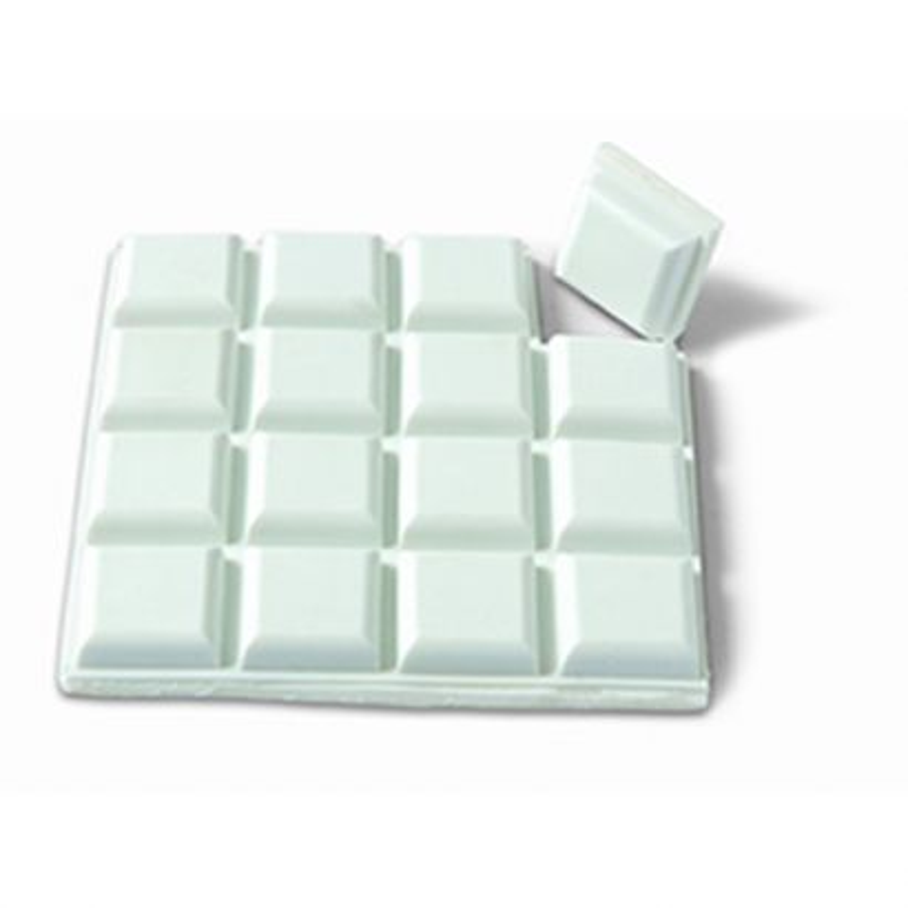 Protector pequeño 15x15 mm. Adhesivo / Blanco. Blister 16 cuadros