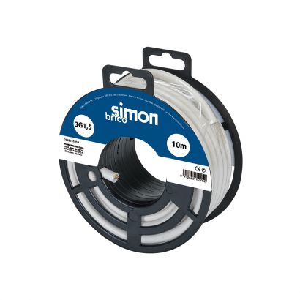 Cable manguera redonda H05VV-F 3G1,5mm² 10 metros blanco
