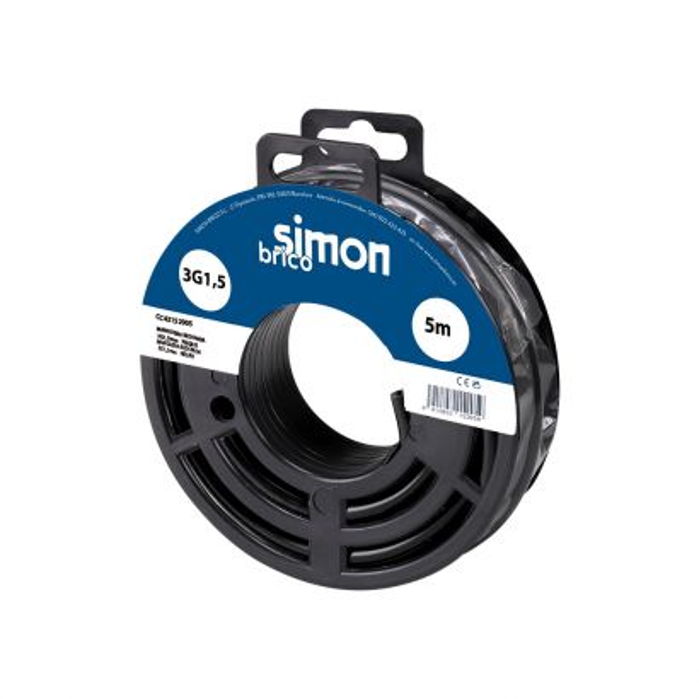 Cable manguera redonda H05VV-F 3G1,5mm² 5 metros negro