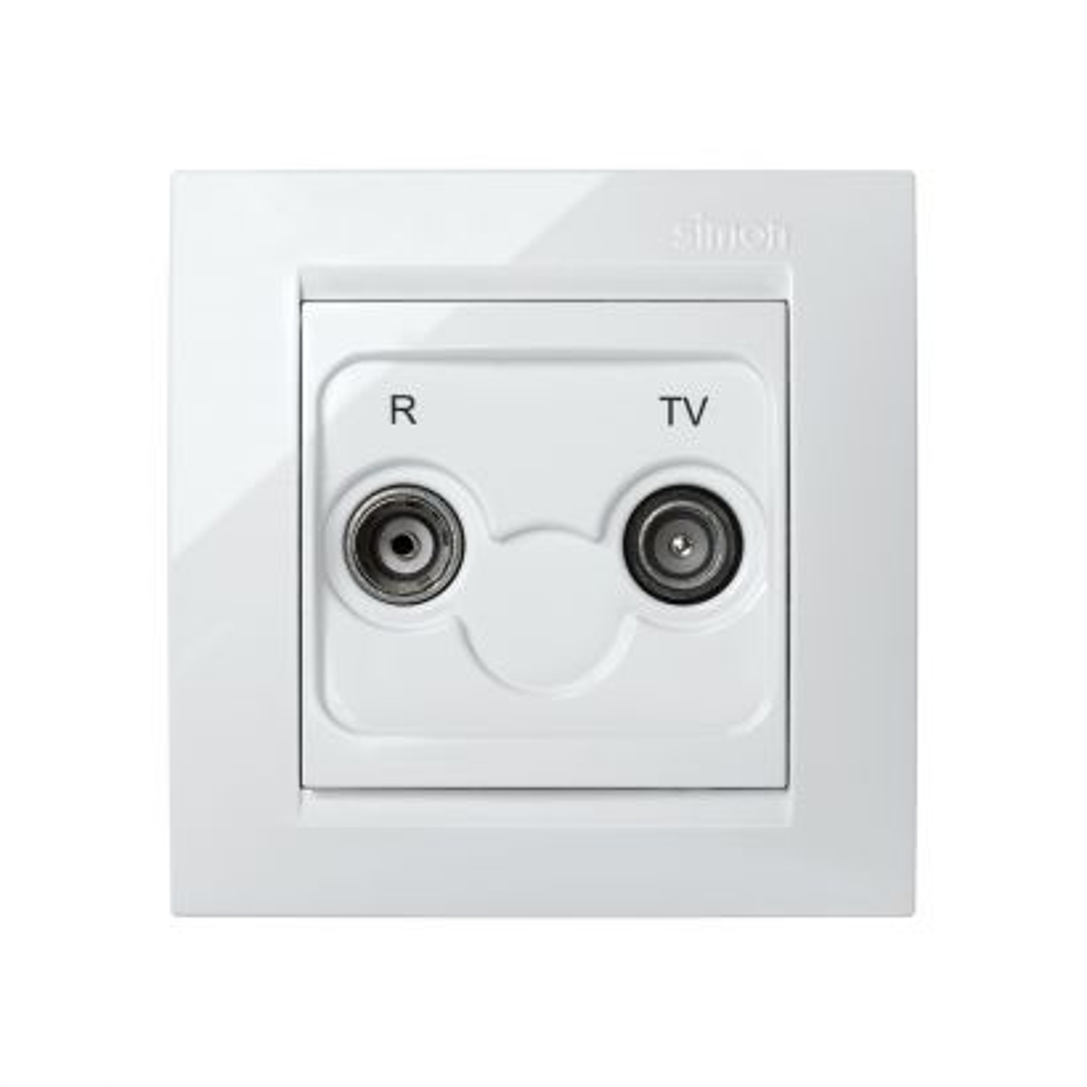 Toma R+TV intermedia blanco Simon 15