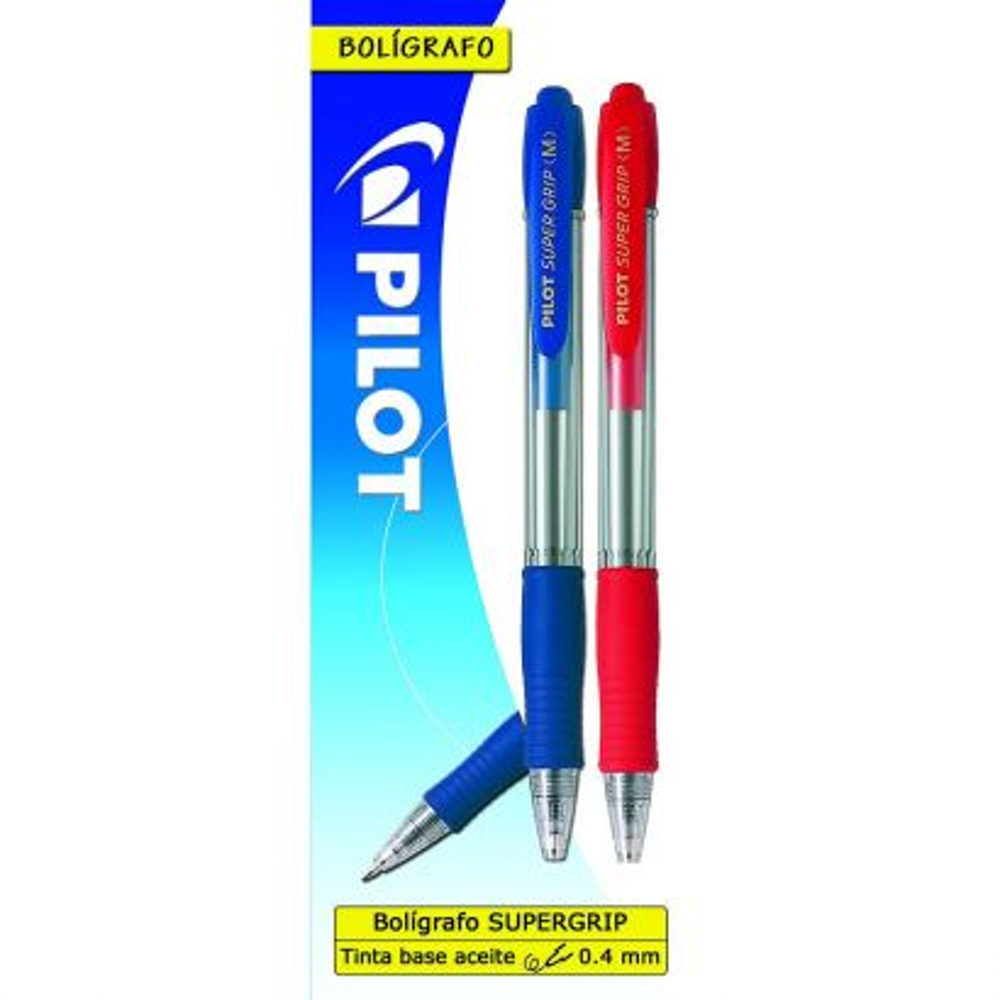 Super grip bolígrafo retráctil azul / rojo