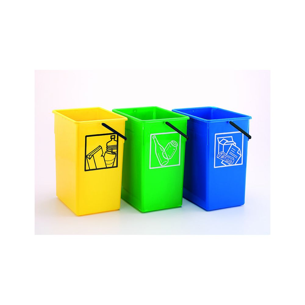 Cubo basura Reciclar 20X28X34 C//Asa verde